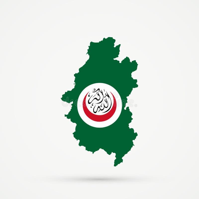 Território étnico Shoria montanhoso de Shors, mapa de Rússia na organização de cores islâmicas da bandeira da cooperação OIC, edi ilustração do vetor