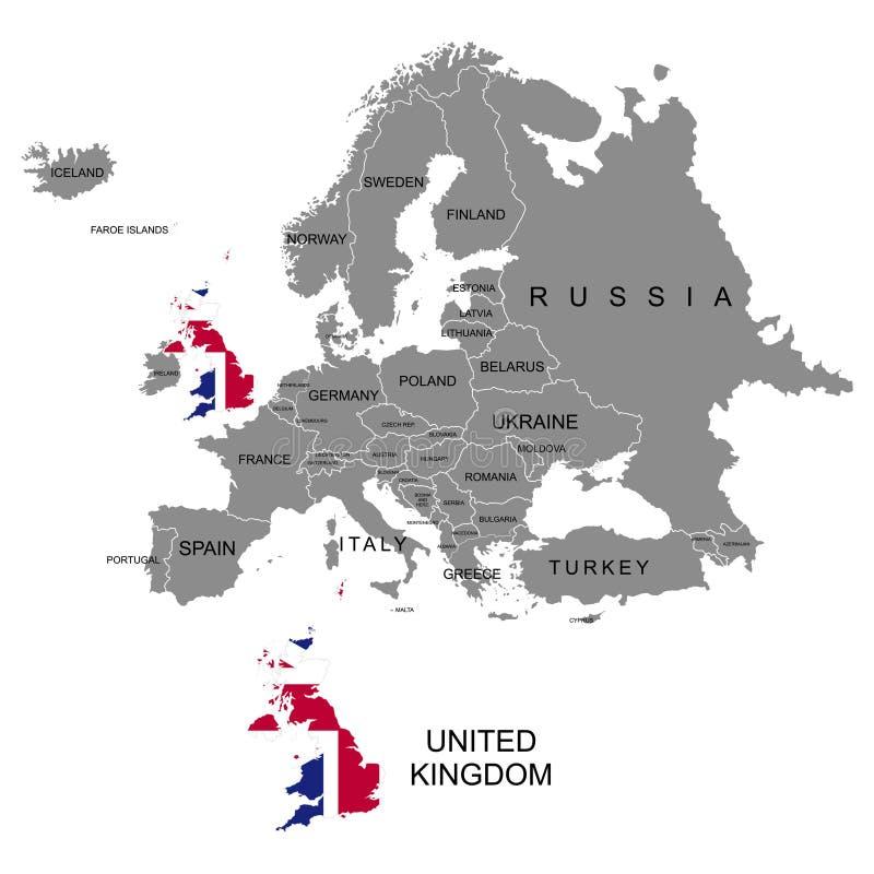 Território do continente de Europa Reino Unido inglaterra Países separados com bandeiras Lista de países em Europa backgrou branc ilustração royalty free