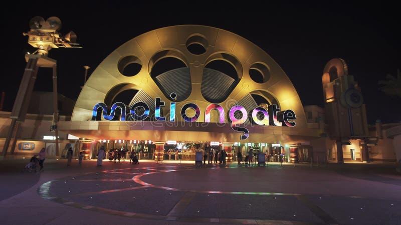 Território do divertimento e parque temático Motiongate em parques e em recursos de Dubai fotografia de stock