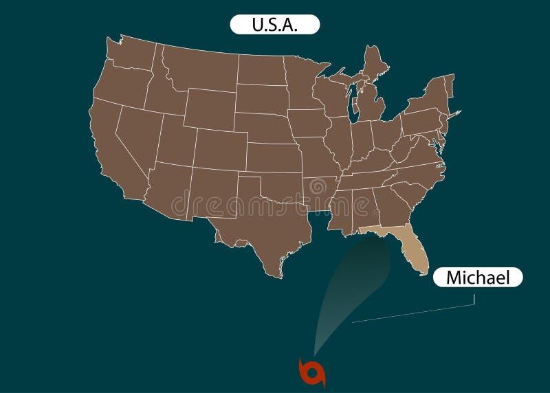 Território do Estados Unidos da América florida Furacão - tempestade Michael Dano do furacão Ilustração do vetor ilustração royalty free