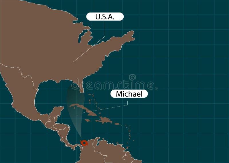 Território do Estados Unidos da América florida Furacão - tempestade Michael Dano do furacão Ilustração do vetor ilustração stock