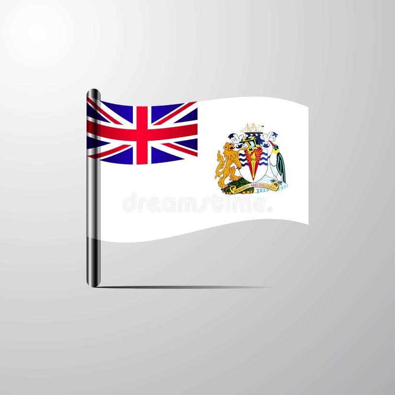 Territoire antarctique britannique ondulant le vecteur brillant de conception de drapeau illustration libre de droits