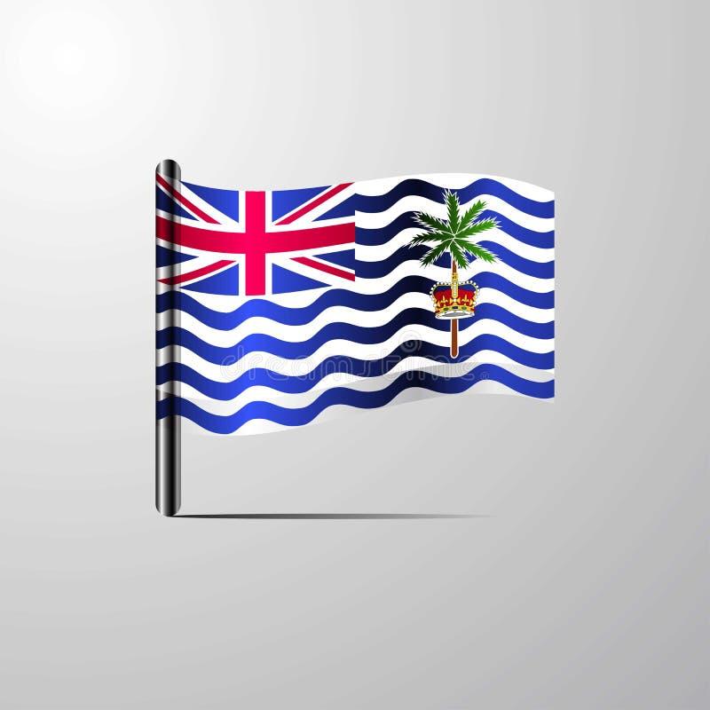 Territoire d'Océan Indien britannique ondulant le vecteur brillant de conception de drapeau illustration stock