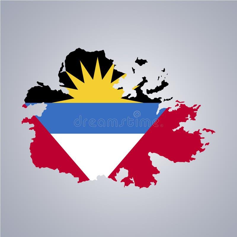 Territoire et drapeau de l'Antigua-et-Barbuda illustration stock