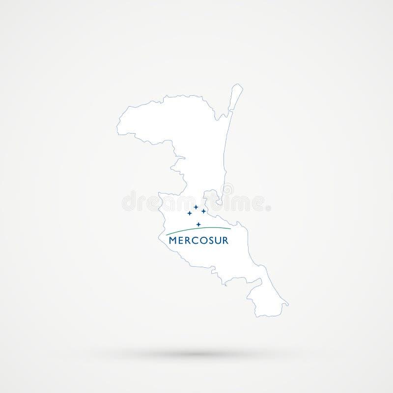 Territoire ethnique de Kumykia Kumyks, carte de Dagestan dans des couleurs du sud de drapeau de MERCOSUR de marché commun, vecteu illustration de vecteur