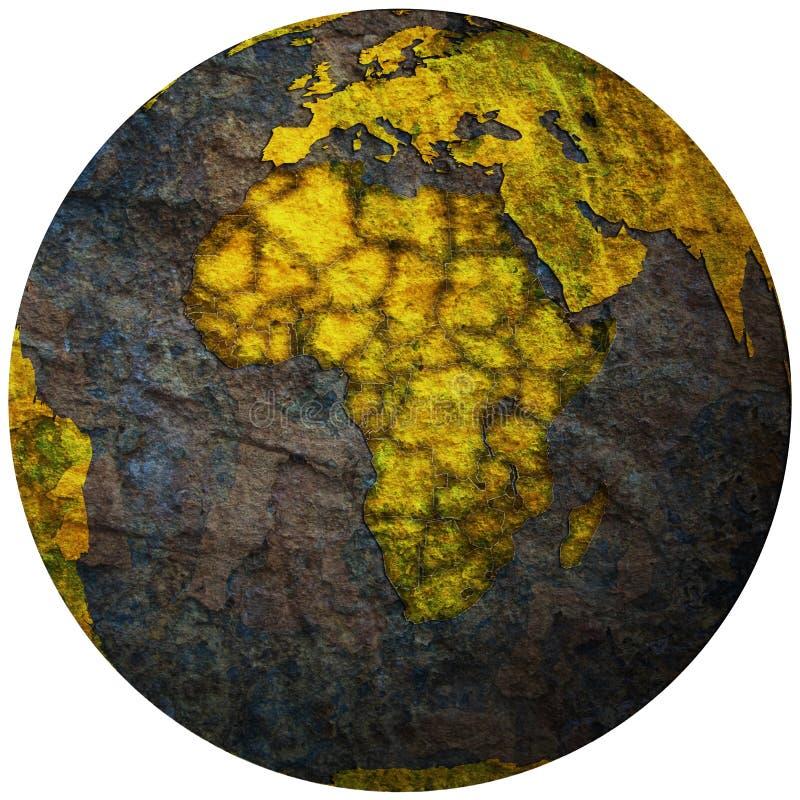 Territoires de pays africains sur la carte de globe illustration stock