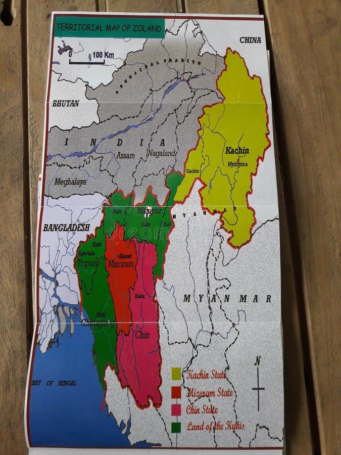 Territoriale kaart van Zoland Convergentie van kachin kin Kuki Mizomensen royalty-vrije stock fotografie