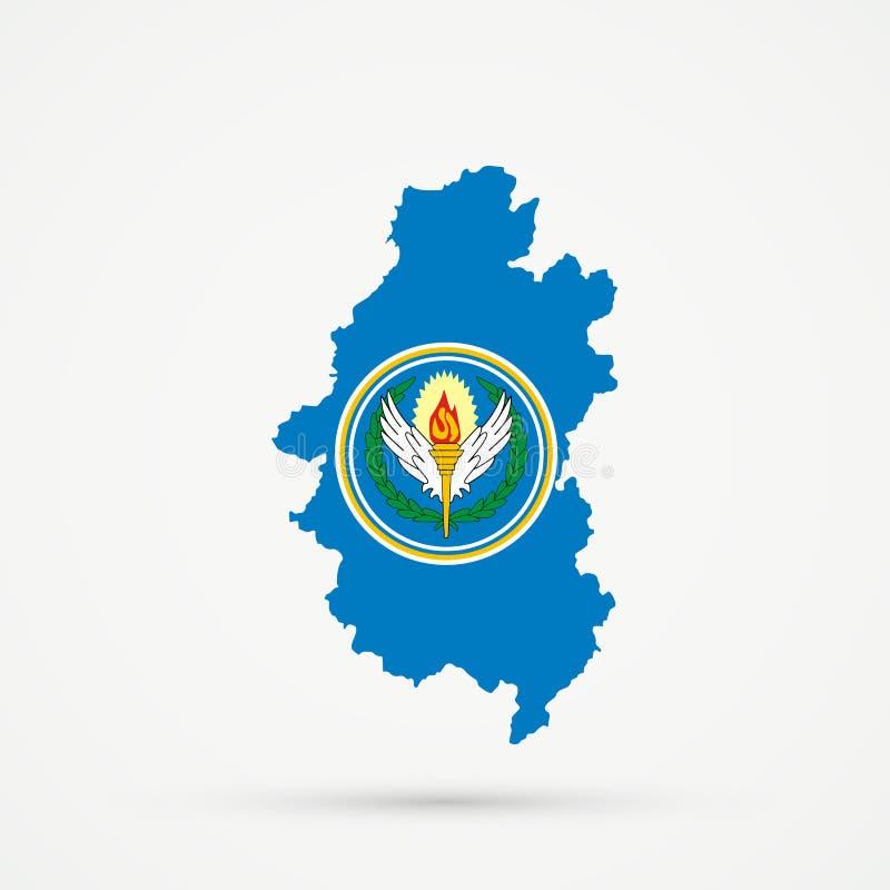 Territorio étnico Shoria montañoso, mapa en colores de la bandera del CENTO de la organización de tratado central, vector editabl ilustración del vector