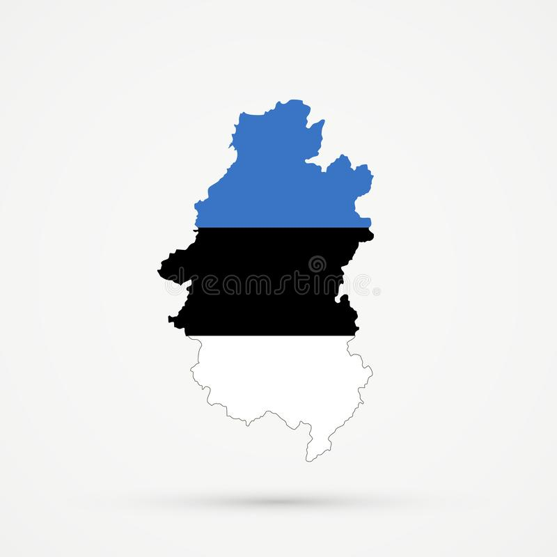 Territorio étnico Shoria montañoso, mapa en colores de la bandera de Estonia, vector editable de Shors de Rusia ilustración del vector