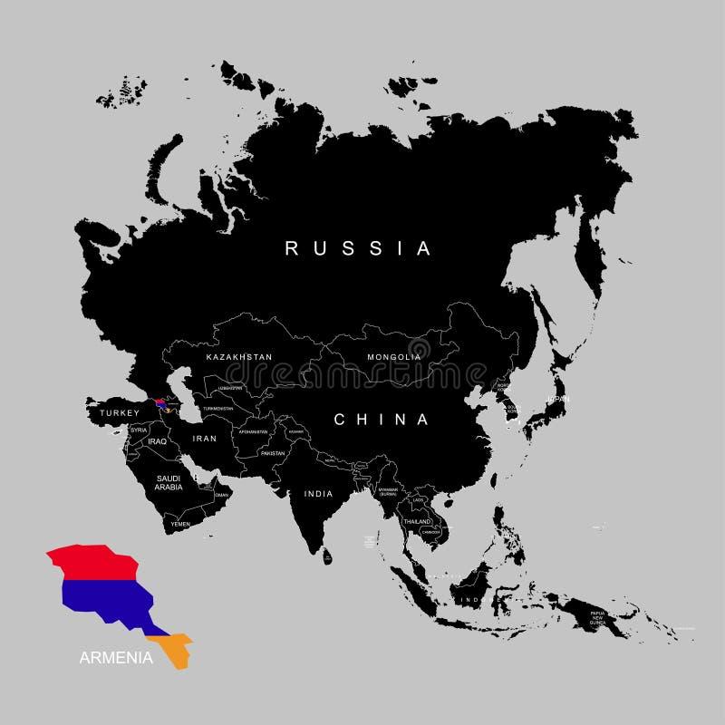 Territorio de Armenia en el continente de Asia Indicador de Armenia Ilustración del vector stock de ilustración