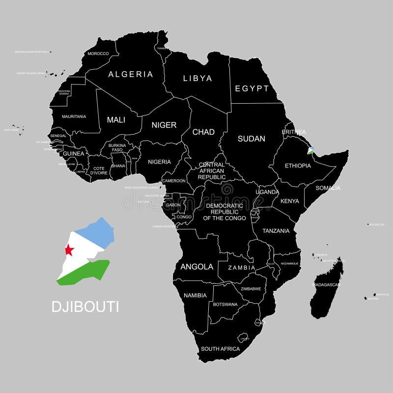 Territorio de Djibouti en el continente de África Ilustración del vector ilustración del vector