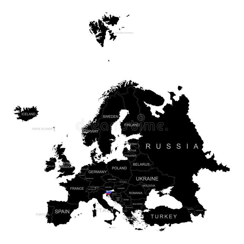 Territorio de Eslovenia en el mapa de Europa en un fondo blanco libre illustration