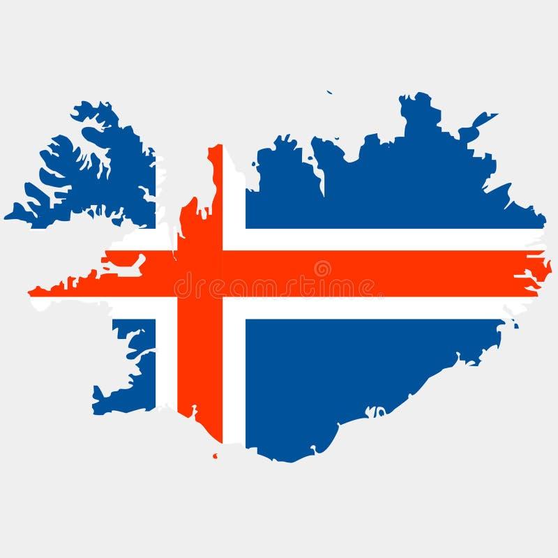 Territorio de Islandia en un fondo gris ilustración del vector