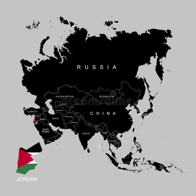 Territorio de Jordania en el continente de Asia Indicador de Jordania Ilustración del vector libre illustration