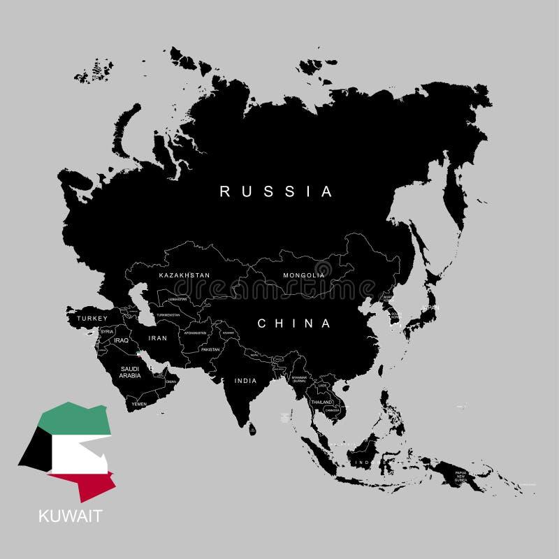 Territorio de Kuwait en el continente de Asia Indicador de Kuwait Ilustración del vector ilustración del vector