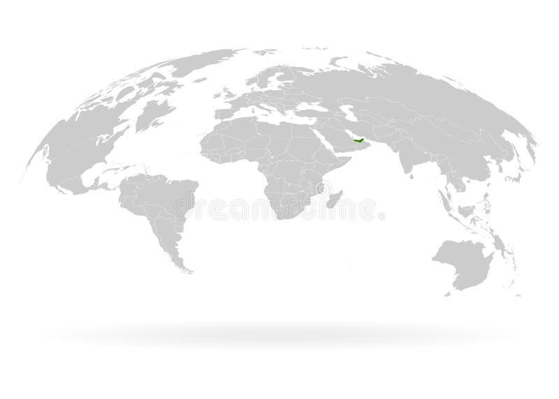 Territorio de los Emiratos Árabes Unidos Planeta Tierra La Tierra, el Mapa Mundial sobre el fondo blanco Ilustración del vector E ilustración del vector