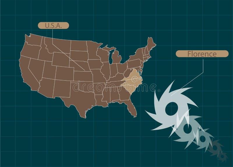 Territorio de los Estados Unidos de América Carolina del Sur, Carolina del Norte, Virginia Huracán - tormenta Florencia Ilustraci ilustración del vector