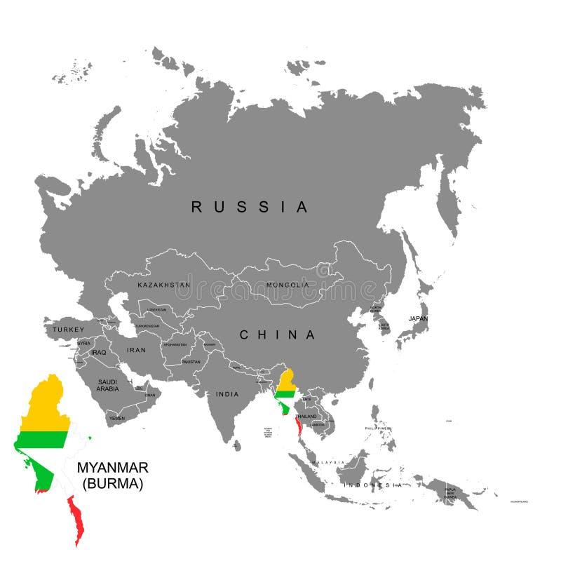Territorio de Myanmar en el continente de Asia Indicador de Myanmar Ilustración del vector ilustración del vector