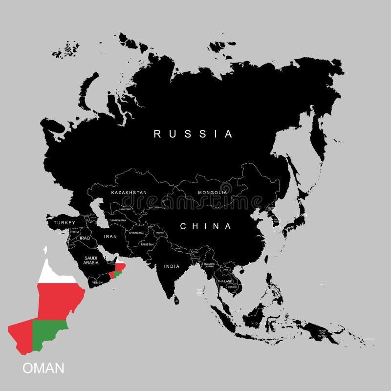 Territorio de Omán en el continente de Asia Indicador de Omán Ilustración del vector ilustración del vector