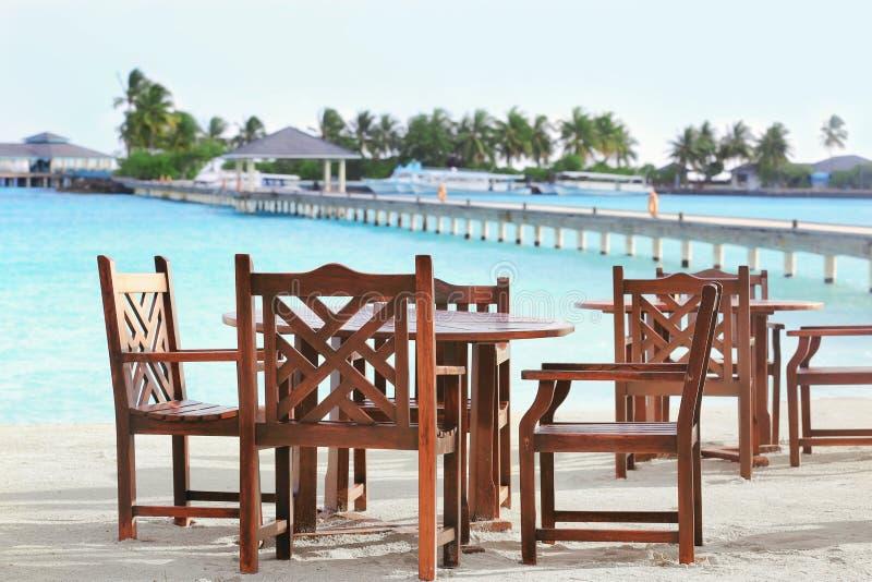 Territorio del café de la playa en tropical fotografía de archivo libre de regalías