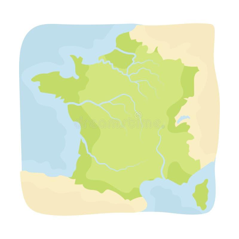 Territorio del icono de Francia en estilo de la historieta aislado en el fondo blanco Ejemplo del vector de la acción del símbolo libre illustration