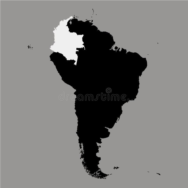 Territorio della Colombia sulla mappa del Sudamerica sui precedenti grigi royalty illustrazione gratis