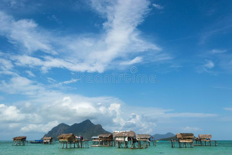 Territorio flotante de Bajau Laut imagenes de archivo