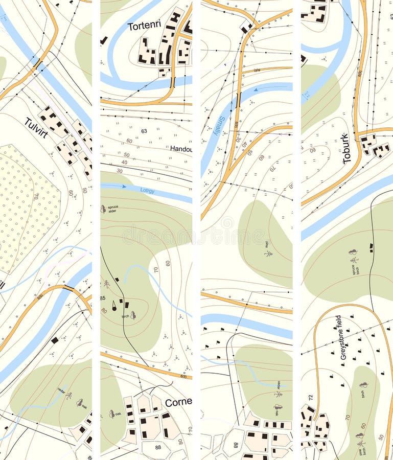 Territorio vertical determinado del mapa topográfico de la bandera con títulos libre illustration