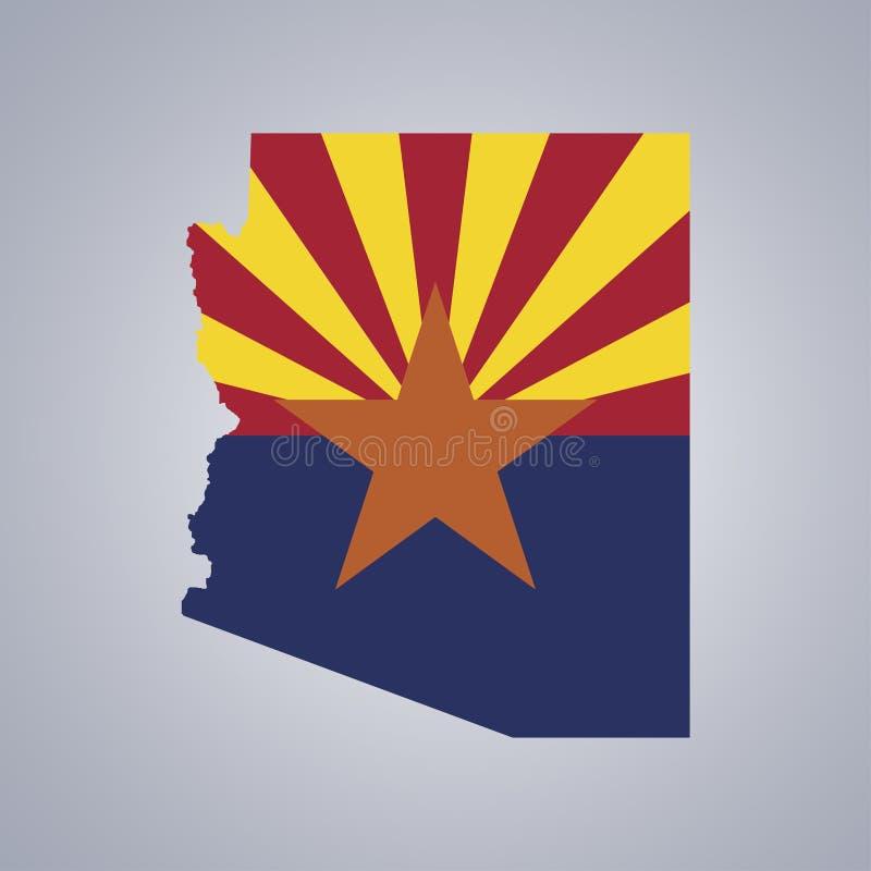 Territorio y bandera de Arizona en fondo gris ilustración del vector