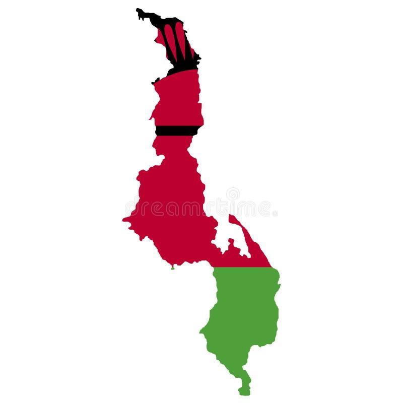 Territorio y bandera de Malawi Fondo blanco Ilustración del vector ilustración del vector