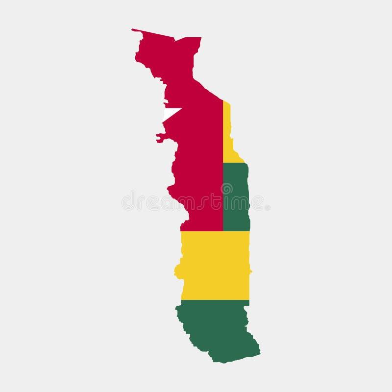 Territorio y bandera de Togo Fondo blanco Ilustración del vector stock de ilustración
