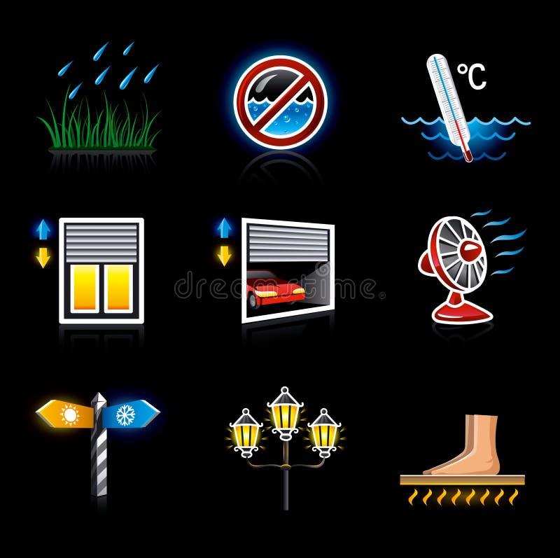 Territorio y clima de la yarda de la casa de los iconos del Web ilustración del vector