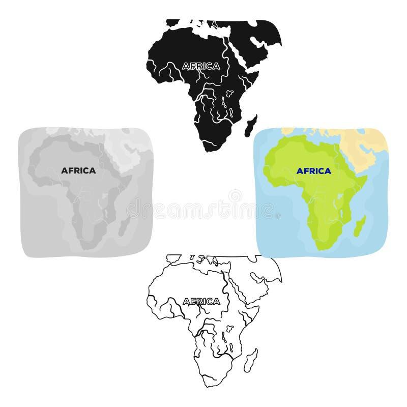 Territorium av Afrika Enkel symbol f?r afrikansk safari i tecknade filmen, svart reng?ringsduk f?r illustration f?r materiel f?r  vektor illustrationer