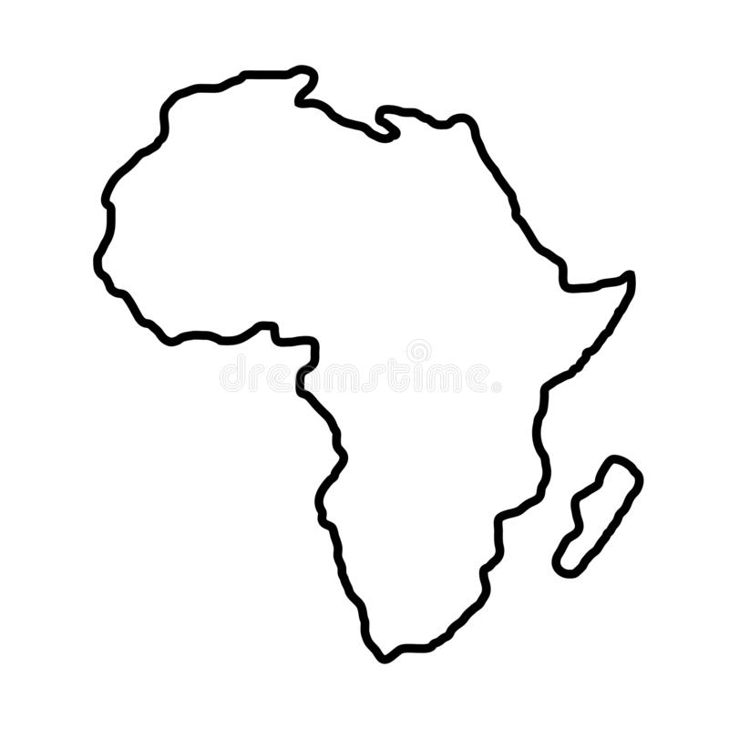 Territorium av Afrika på vit bakgrund ocks? vektor f?r coreldrawillustration stock illustrationer