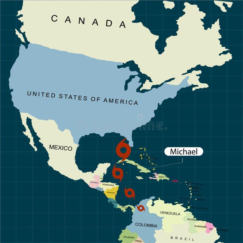 Territorium av Amerikas förenta stater Florida Orkan - storm Michael Orkanskada också vektor för coreldrawillustration vektor illustrationer