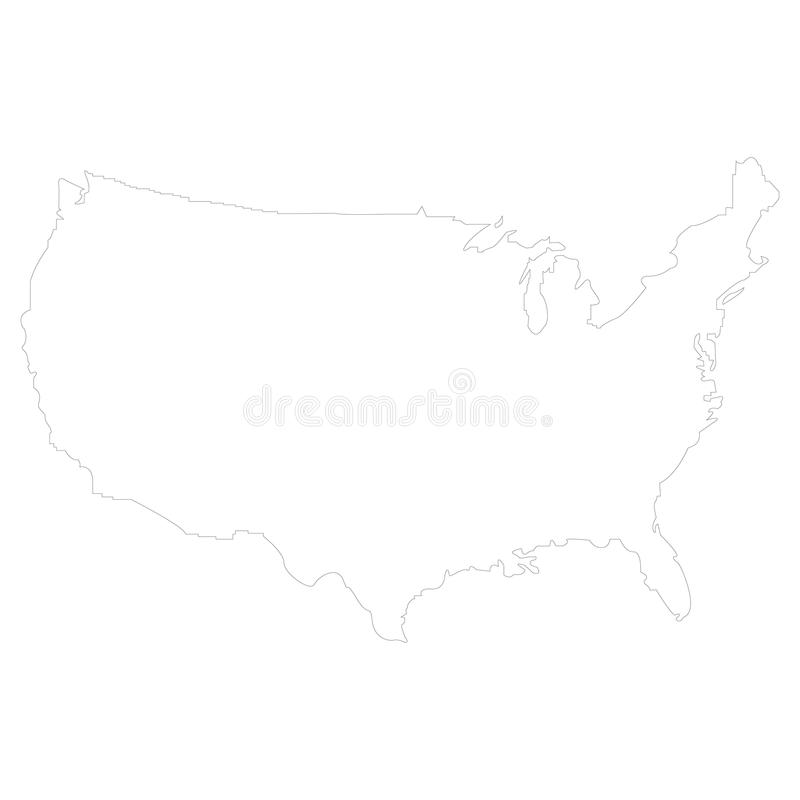 Territorium av Amerikas förenta stater med kontur stock illustrationer
