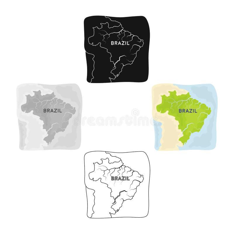 Territorium av den Brasilien symbolen i tecknade filmen, svart stil som isoleras p? vit bakgrund Vektor f?r materiel f?r Brasilie stock illustrationer