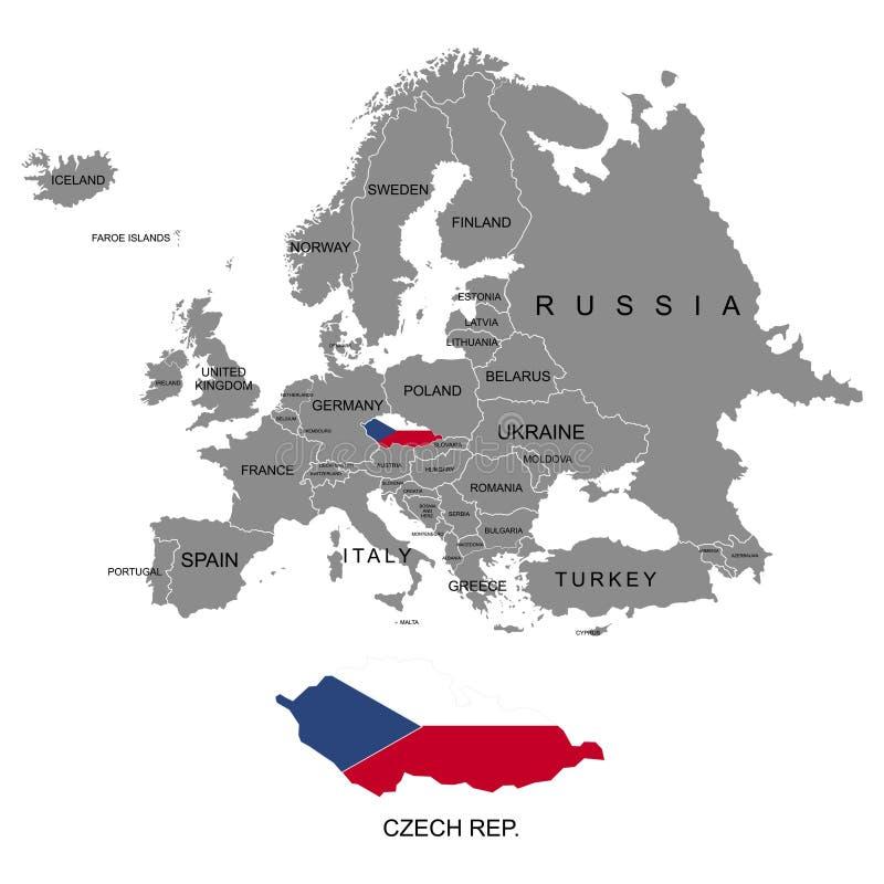 Territorium av den Europa kontinenten Republiken Tjeckien Separata länder med flaggor Lista av länder i Europa Vit bakgrund V stock illustrationer