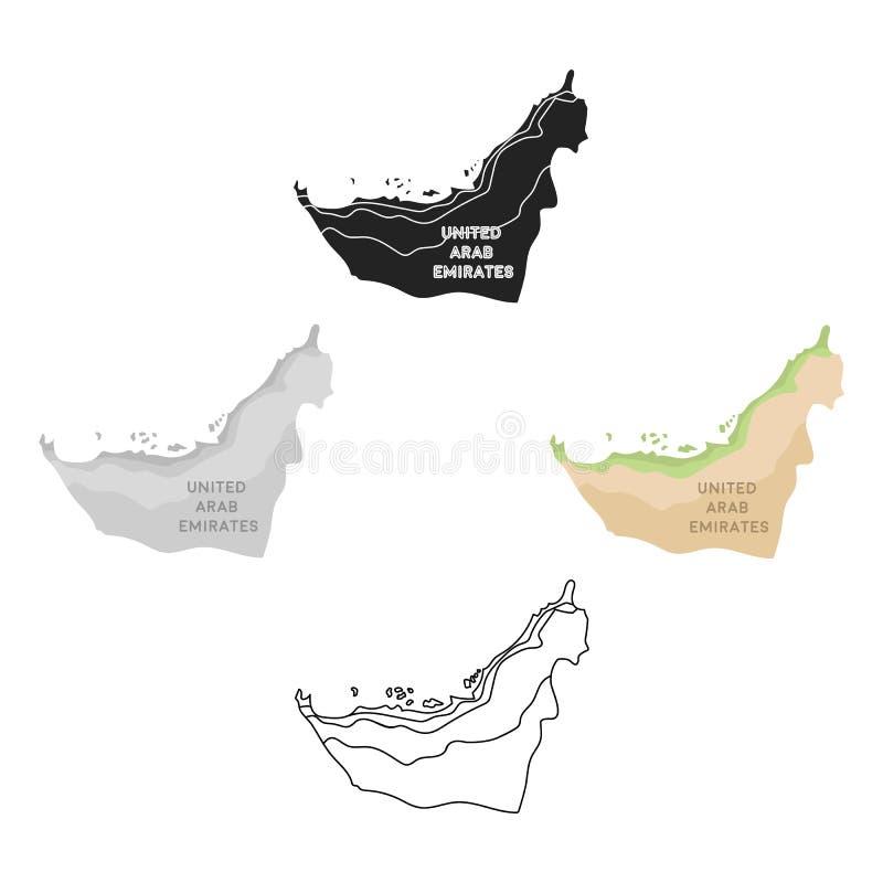Territorium av den F?renade Arabemiraten symbolen i tecknade filmen, svart stil som isoleras p? vit bakgrund Arabiskt emiratsymbo stock illustrationer