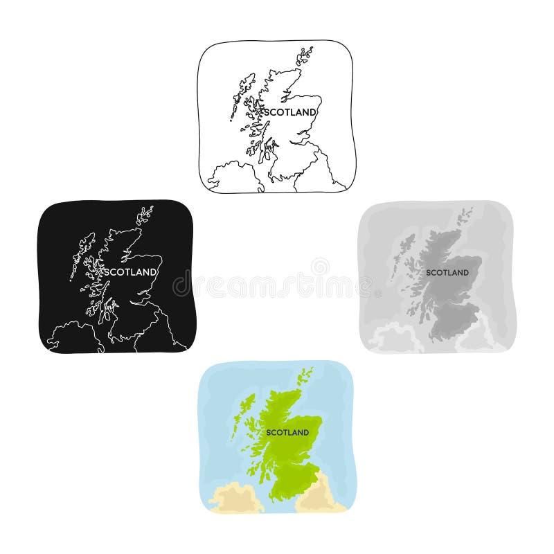 Territorium av den Skottland symbolen i tecknade filmen, svart stil som isoleras på vit bakgrund Vektor f?r materiel f?r Skottlan vektor illustrationer