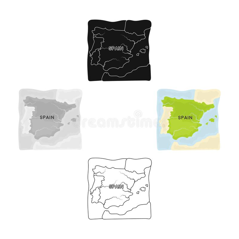 Territorium av den Spanien symbolen i tecknade filmen, svart stil som isoleras på vit bakgrund Vektor f?r materiel f?r Spanien la vektor illustrationer