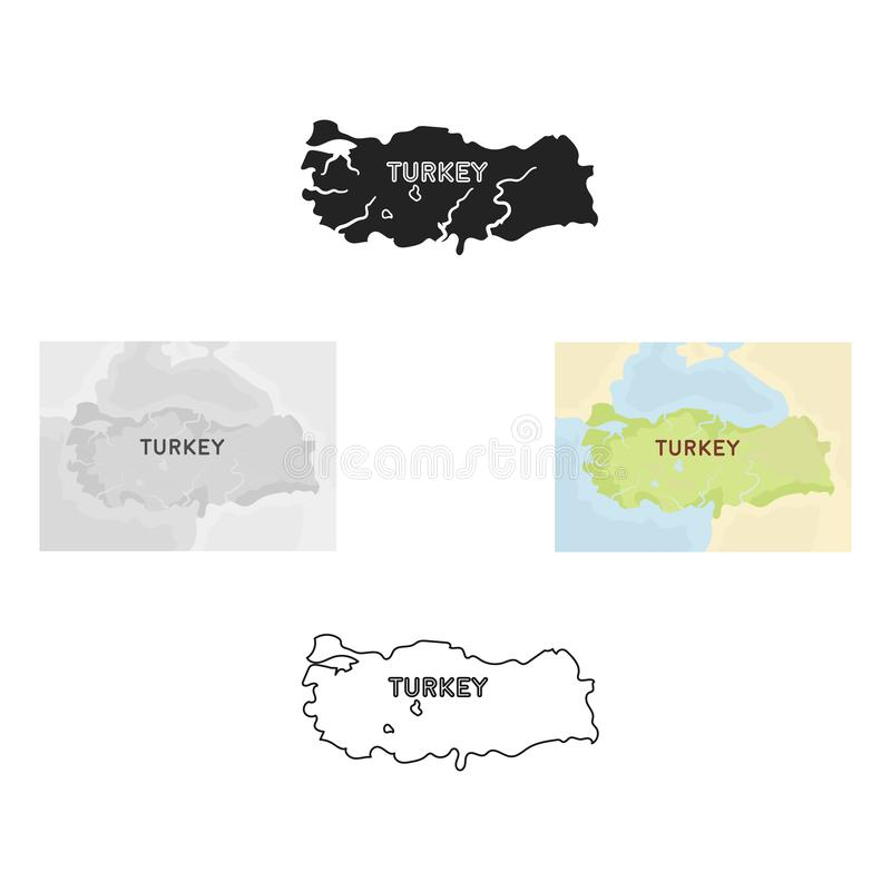 Territorium av den Turkiet symbolen i tecknade filmen, svart stil som isoleras på vit bakgrund Illustration f?r vektor f?r Turkie stock illustrationer