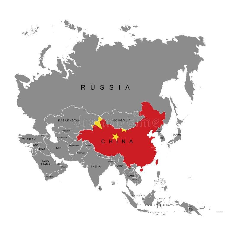 Territorium av Kina på den Asien kontinenten Sjunka av Kina också vektor för coreldrawillustration vektor illustrationer