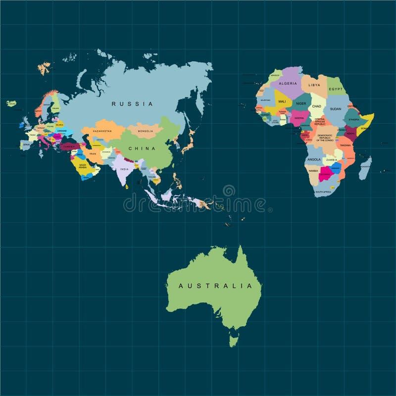 Territorium av kontinenter - Afrika Europa Asien Eurasia, Australien Stranda av hår vänder mot in också vektor för coreldrawillus stock illustrationer
