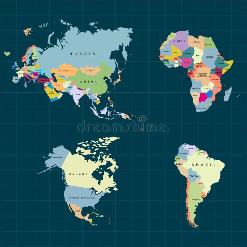 Territorium av kontinenter - Afrika, Europa, Asien, Eurasia, Nordamerika, Sydamerika Stranda av hår vänder mot in också vektor fö royaltyfri illustrationer