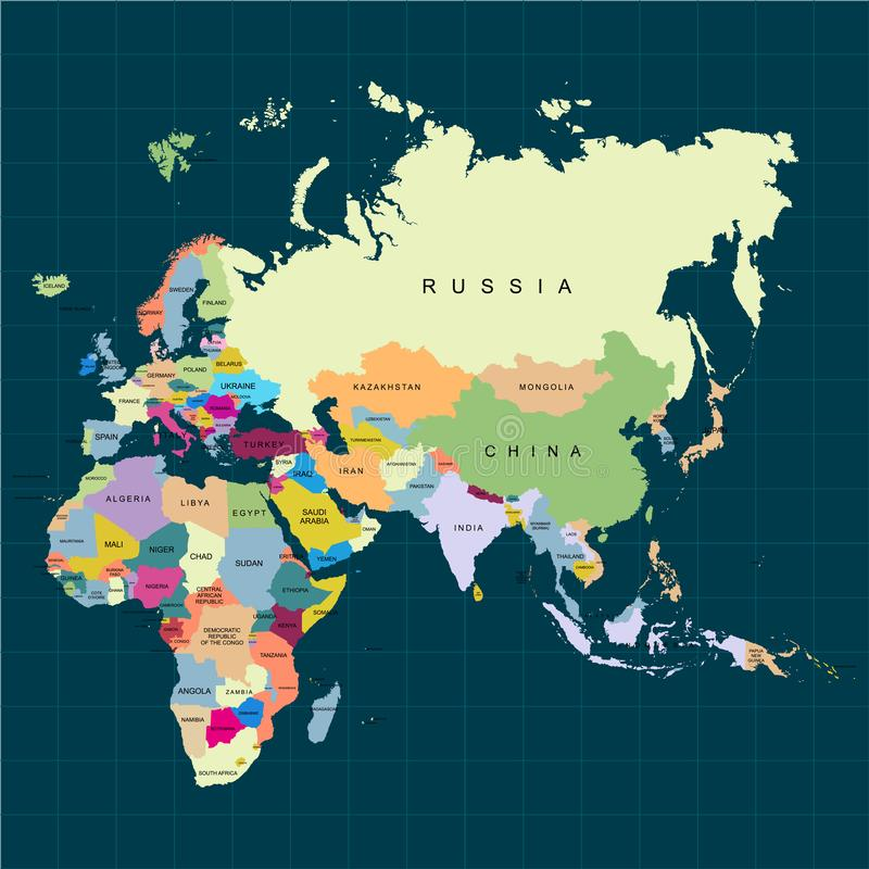 Territorium av kontinenter - Afrika, Europa, Asien, Eurasia Stranda av hår vänder mot in också vektor för coreldrawillustration vektor illustrationer