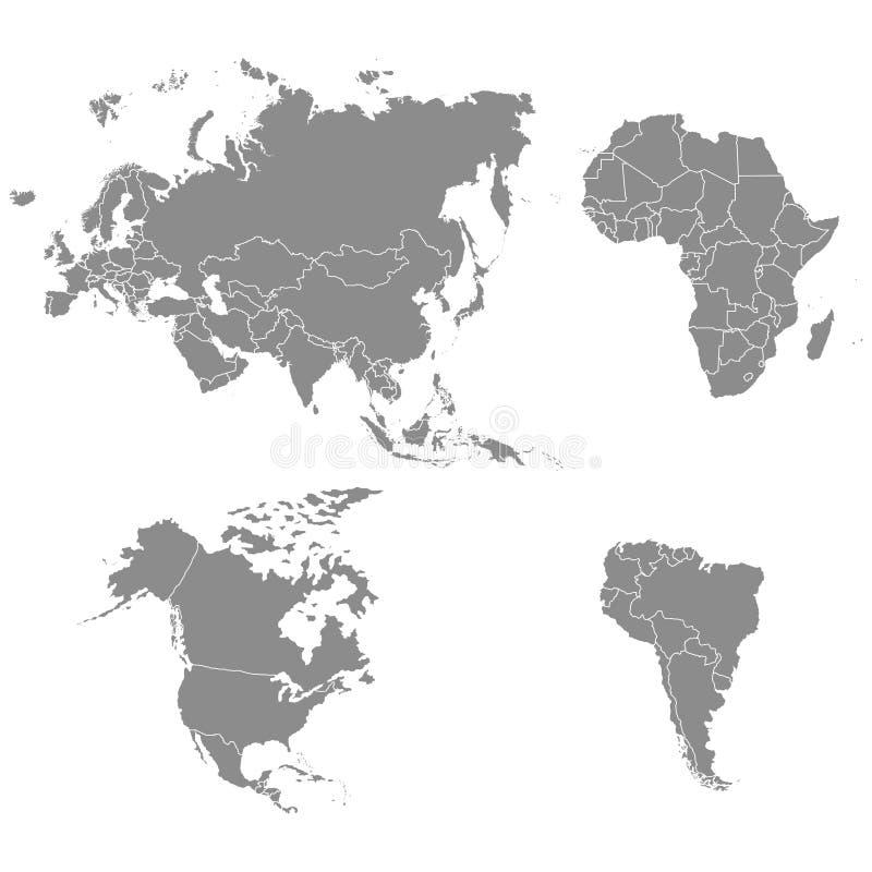 Territorium av kontinenter - Nordamerika Sydamerika Afrika, Europa, Asien royaltyfri illustrationer