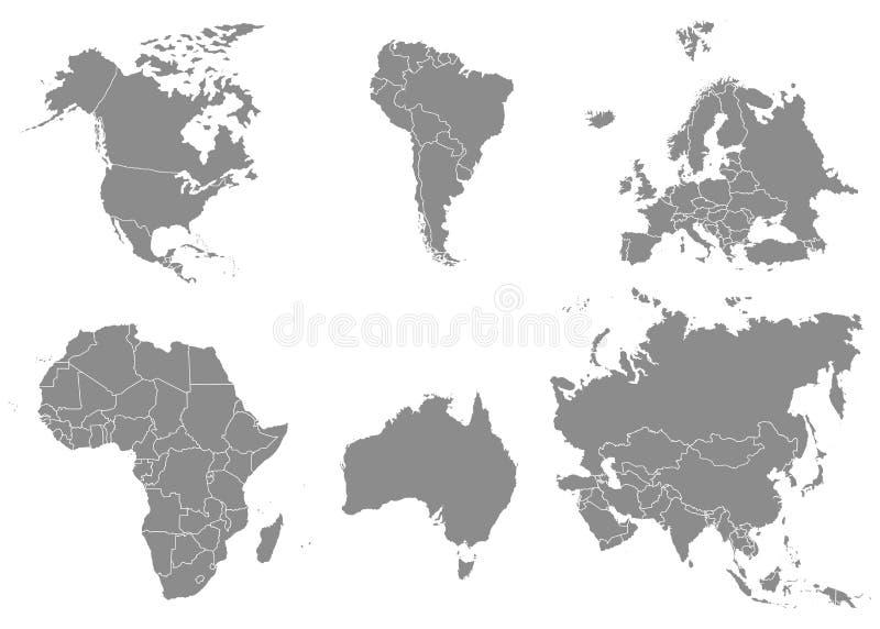 Territorium av kontinenter - Nordamerika Sydamerika Afrika, Europa, Asien, Australien stock illustrationer