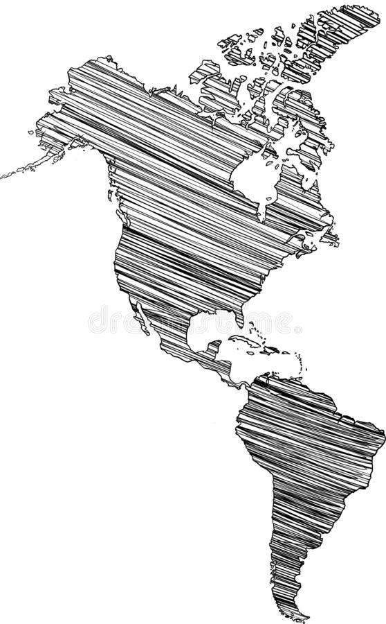 Territorium av kontinenter - Nordamerika, Sydamerika också vektor för coreldrawillustration vektor illustrationer