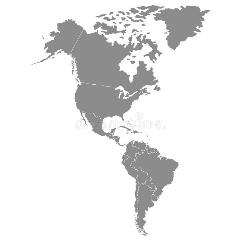 Territorium av kontinenter - Nordamerika, Sydamerika också vektor för coreldrawillustration royaltyfri illustrationer
